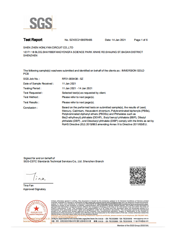 沉金-ROHS检测报告英文2021