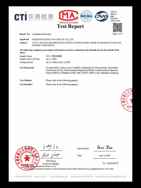 华测ROHS检测报告2020英文